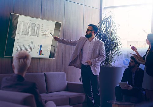 Person giving a presentation on screen